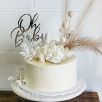 "Laser Cut Silver Acrylic ""Oh Baby"" Christening, Baptism, Naming Day and Baby Shower Cake Topper"