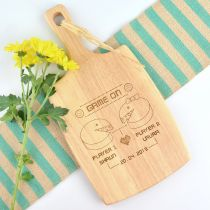 Personalised engraved Pac-Man Design Paddle Chopping Board wedding gift