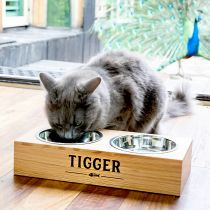 Personalised Printed Wooden Pet Feeding Station with Stainless Steel Pet Bowls Present