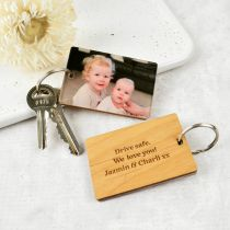 Personalised Photo Print Keyring with Engraved Wooden Message Plaque