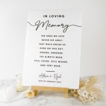 Personalised Printed Memorial Loving Memory A3 Printed Acrylic Wedding Reception and Ceremony Sign