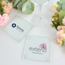 Colour Printed Corporate logo on Clear Glass Coaster Gift