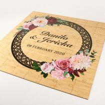 Personalised Laser Cut & Printed Wooden Puzzle Piece Wedding Guest Book