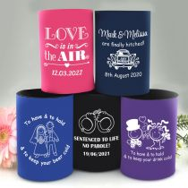 Personalised Wedding Stubby Beer Holder Favour