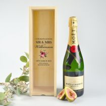 Full Colour Print Wooden Wine or Champagne light wooden bride and groom wedding gift Box