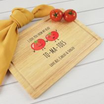 Personalised Colour Printed Vegetable Puns Kitchen Jokes Wooden Chopping Board