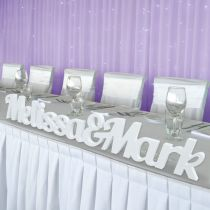 Personalised laser cut bride & groom White Joined Names PVC Cut