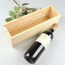Father's Day Raw Natural Wine and Champagne Box with Personalised Engraved Acrylic Lid Present
