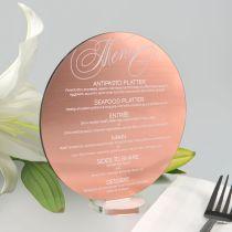 Custom design Printed Laser Engraved Round Rose Gold Acrylic Wedding Menu