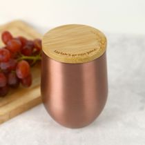 Personalised Engraved Rose Gold Stemless Wine Glass Sipper With Lid