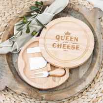"""Customised Engraved """"Queen of Cheese"""" Circle Serving Board and Cheese Knife Set Birthday Gift"""