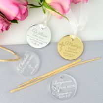 """Customised Engraved Silver, Gold, Clear & Frosted Acrylic """"Circle"""" Baptism Gift Tags Favours"""