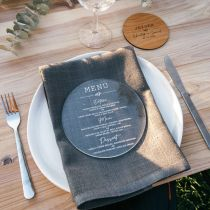 Personalised Engraved Round Clear Acrylic Wedding Menu