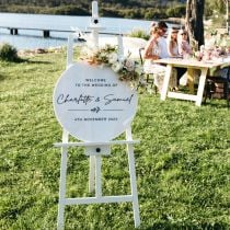 Black Printed Personalised Laser Cut White Acrylic Sign Round Wedding Welcome Sign