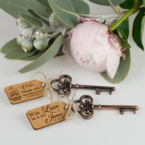Rustic Key Bottle Opener with Personalised Engraved Wooden Gift Tag Wedding Favour