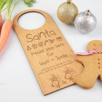 Personalised Engraved Santa Please Stop Here Christmas Wooden Door Hanger