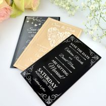 Personalised engraved wedding acrylic save the dates cards