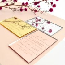 Personalised Engraved Gold, Silver, Rose Gold Acrylic Wedding Save the dates