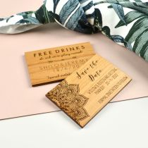 Personalised Engraved Wooden Rectangle Wedding Save the Date Magnets