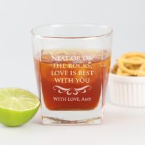 "Personalised Engraved ""Neat or on the rocks"" Valentine's Day Scotch glass Present"