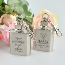 Personalised Engraved Silver bridal party mini hip flasks favour