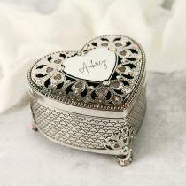 Personalised Engraved Silver Heart Jewellery Keepsake Box