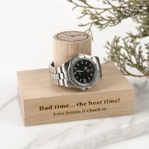 Personalised Engraved Father's Day Tasmanian Oak Single Column Watch Stand Present