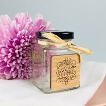 Personalised Engraved Wooden plaque on square wedding reception favour jars