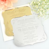 Personalised Engraved Royal Style Acrylic Mirror Gold & Silver Wedding Invitation