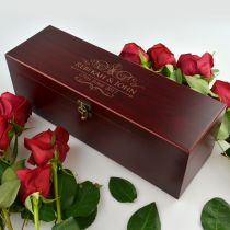 Engraved Wooden Stained Wine Box Set, Wedding Gift for Bride and Groom