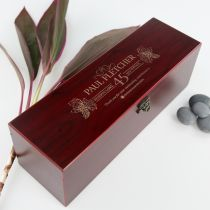Personalised Engraved Corporate Wooden Stained Wine Box Set Gift with wine stopper, waiter's friend, aerator and cork saver