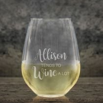 Personalised Engraved Bar ware Stemless Wine Glass Present