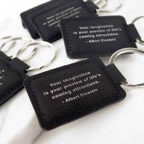 Engraved Student Graduation Black Leatherette Keyrings Set of 10