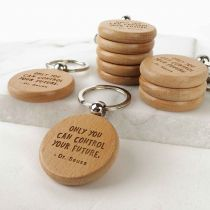 Engraved Student Graduation Round Wooden Keyrings Set of 10