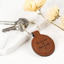 "Personalised Engraved Mother's Day ""We Love you"" Round Tan Leatherette Keyring Present"