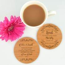 Personalised Engraved Teacher's Appreciation Christmas Round Wooden Coaster Present