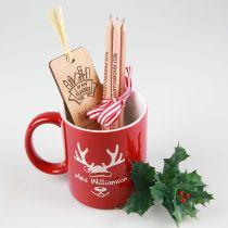 Custom Designed Engraved Teacher Christmas Hamper- personalised mug, pencils and bookmark