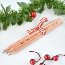 Personalised Engraved Wooden Teachers Christmas Pencils Presents