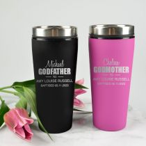 Personalised Engraved Godparent's Black & Pink Thermo Travel Mugs Present for Christenings, Baptism & Naming Days
