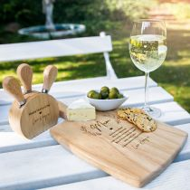Personalised Engraved Ultimate Mother's Day Hamper Present- Wooden Paddle Board, Wine Glass, Cheese Knife Set