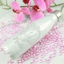 Personalised Engraved Limited Edition Unicorn Water Bottle with birthday girls name present