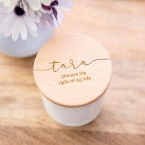 Personalised Engraved Valentine's Day Black Raspberry and Vanilla Fragrance White glass Candle With Wooden Lid