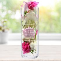 Personalised Engraved Godmother Glass Vase Present for Christenings, Baptisms and Naming Days