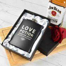 Personalised Engraved Black Valentine's Day Hip flask