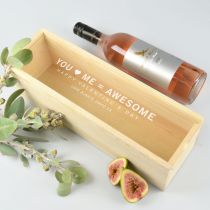 Personalised Engraved Valentine's Day wooden wine box with clear display lid Present