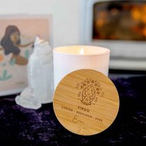 Personalised Engraved Wooden Lid Zodiac Soy Candle Virgo with Wood Wick