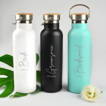 Personalised Engraved Bridal Party White, Black & Tiffany Blue Metal Water Bottles With Wooden Lids Gift