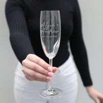 Personalised Engraved Bride and Groom Champagne Glasses Wedding Present