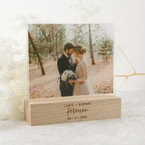 Personalised Engraved Acrylic Wedding Photo Print with Engraved Wooden Base Present