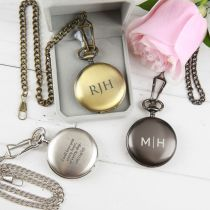 Personalised engraved Black, silver and gold wedding pocket watch for bridal party